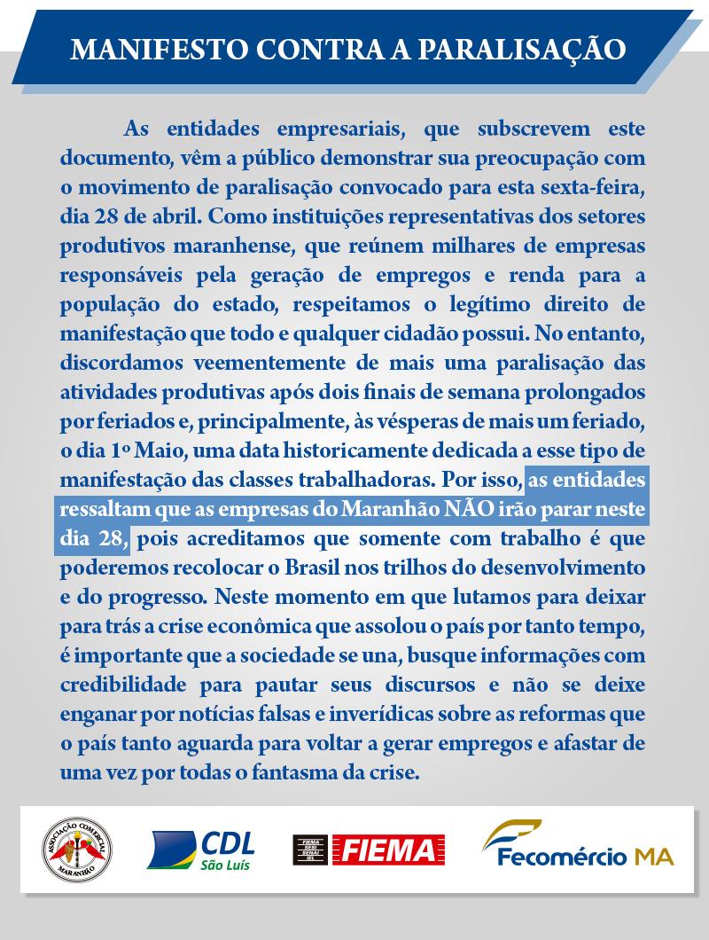 Postagem WhatsApp Fecom 2017 Manifesto